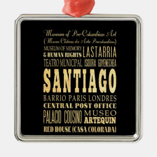 Santiago City of Chile Typography Art Christmas Ornament