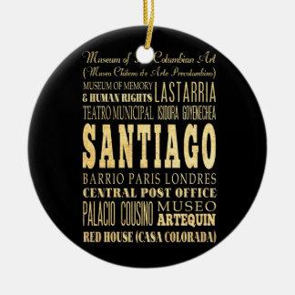 Santiago City of Chile Typography Art Round Ceramic Decoration