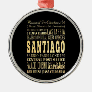 Santiago City of Chile Typography Art Silver-Colored Round Decoration
