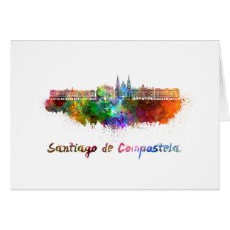 Santiago de Compostela skyline in watercolor Card
