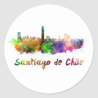 Santiago of Chile skyline in watercolor Classic Round Sticker