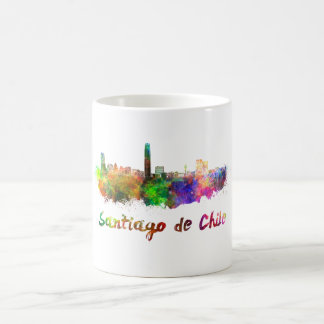 Santiago of Chile skyline in watercolor Coffee Mug