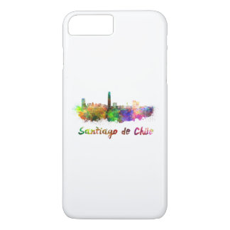 Santiago of Chile skyline in watercolor iPhone 7 Plus Case