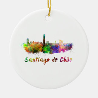 Santiago of Chile skyline in watercolor Round Ceramic Decoration