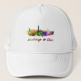 Santiago of Chile skyline in watercolor Trucker Hat
