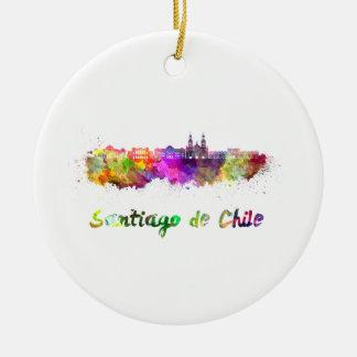 Santiago of Chile V2 skyline in watercolor Ceramic Ornament