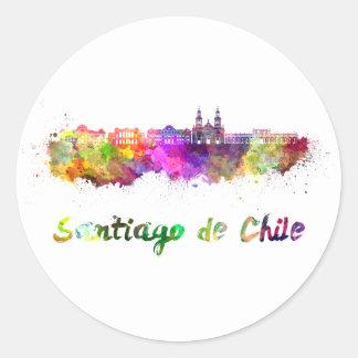 Santiago of Chile V2 skyline in watercolor Classic Round Sticker