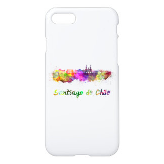 Santiago of Chile V2 skyline in watercolor iPhone 7 Case