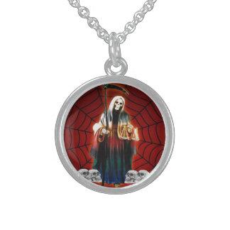 SANTISIMA MUERTE LargeSilverPlated Round Necklace