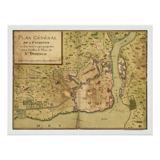 Santo Domingo Dominican Map 1805 Poster