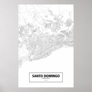 Santo Domingo, Dominican Republic (black on white) Poster