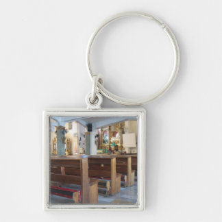Santo Niño Church Silver-Colored Square Key Ring