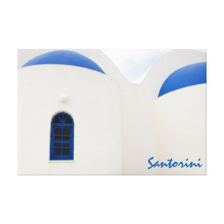 Santorini - a little white church with blue domes canvas print