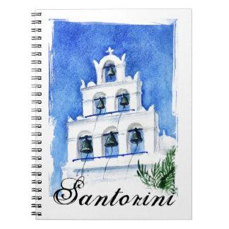 Santorini belltower watercolor painting notebook
