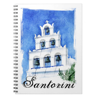 Santorini belltower watercolor painting notebooks