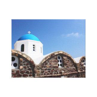 Santorini Blue Dome Church Canvas Print