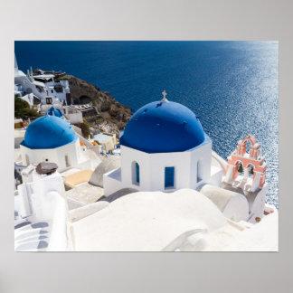 Santorini - Blue domed church at Oia poster