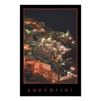 Santorini by Night Poster