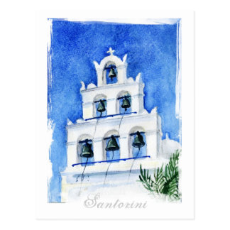 Santorini Cathedral watercolor Postcard