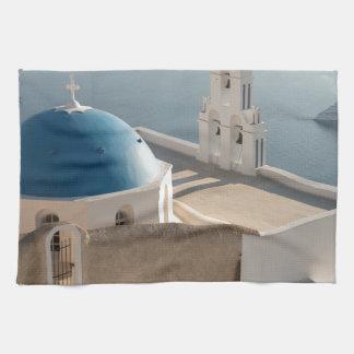 Santorini Church, Greece Tea Towel