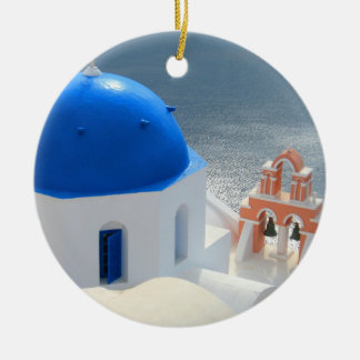 Santorini Church in the Afternoon Sun Ceramic Ornament