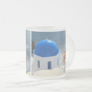 Santorini Church in the Afternoon Sun Frosted Glass Coffee Mug