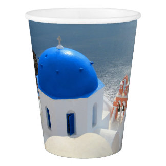 Santorini Church in the Afternoon Sun Paper Cup