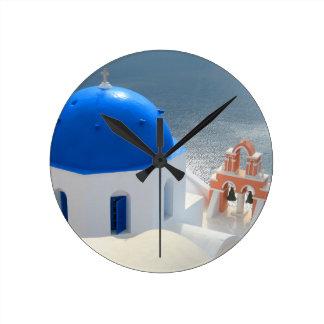Santorini Church in the Afternoon Sun Round Clock