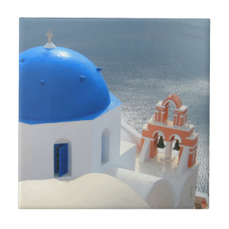 Santorini Church in the Afternoon Sun Small Square Tile