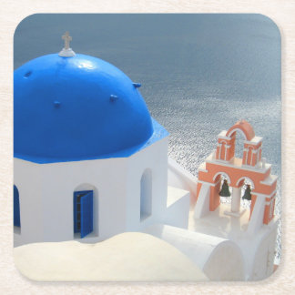Santorini Church in the Afternoon Sun Square Paper Coaster