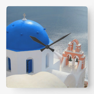 Santorini Church in the Afternoon Sun Square Wall Clock