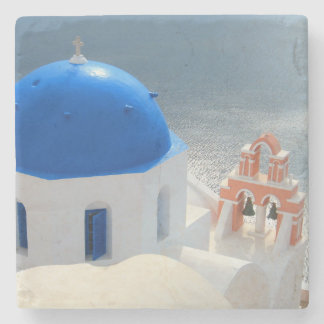 Santorini Church in the Afternoon Sun Stone Coaster