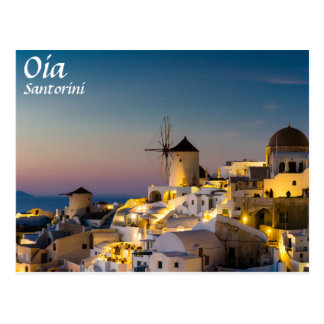 Santorini - Cityscape of Oia at sunset postcard