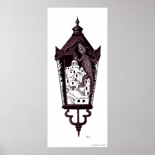 Santorini gekko surreal concept black and white print