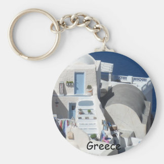 Santorini, Greece Basic Round Button Key Ring