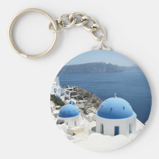 Santorini Greece Basic Round Button Key Ring