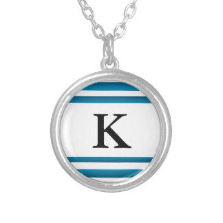 Santorini Greece Blue Design Initial Round Pendant Necklace