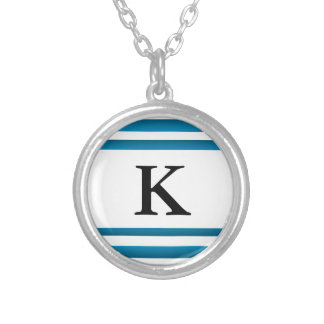 Santorini Greece Blue Design Initial Silver Plated Necklace