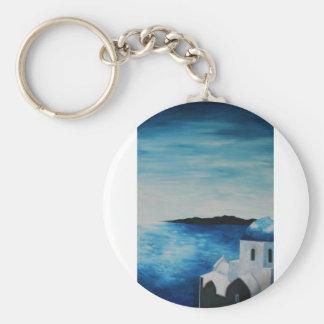 Santorini, Greece - Blue Dome Keychains