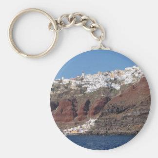 Santorini Greece Basic Round Button Key Ring