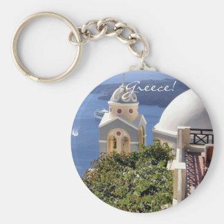 Santorini, Greece Basic Round Button Key Ring