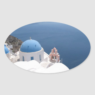 Santorini Greece Oval Sticker