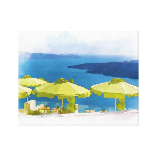 Santorini Greece Painting Canvas Print