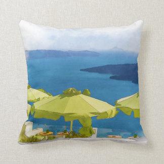 Santorini Greece Painting Throw Pillow