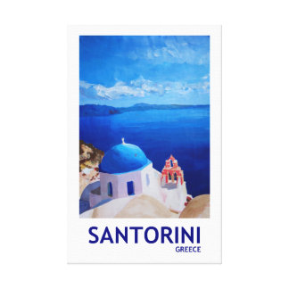Santorini Greece Retro Style Canvas Print