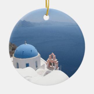 Santorini Greece Round Ceramic Decoration