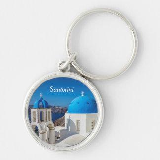 Santorini, Greece Silver-Colored Round Key Ring