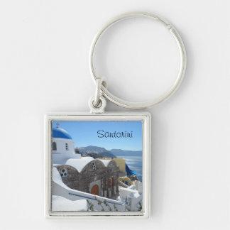 Santorini, Greece Silver-Colored Square Key Ring