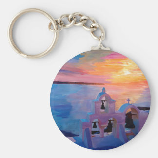 Santorini Greece View from Oia during Sunset Keychains