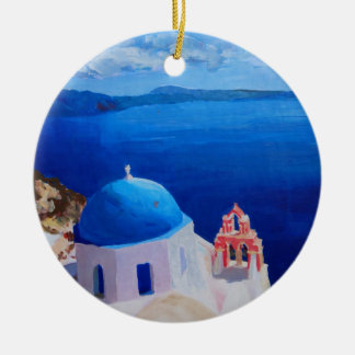 Santorini, Greece - View from Oia Round Ceramic Decoration